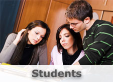 Students Image: Three students discussing a project