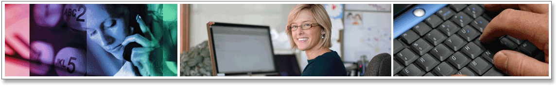 Series of 3 Images. Image 1: Woman talking on phone. Image 2: Woman at computer smiling. Image 3: Laptop keyboard.
