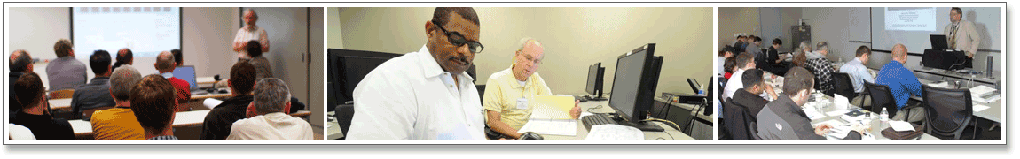 Series of 3 images. Image 1: Classroom for adult learners. Image 2: Two adult males working together on an assignment 3: Continuing Education class