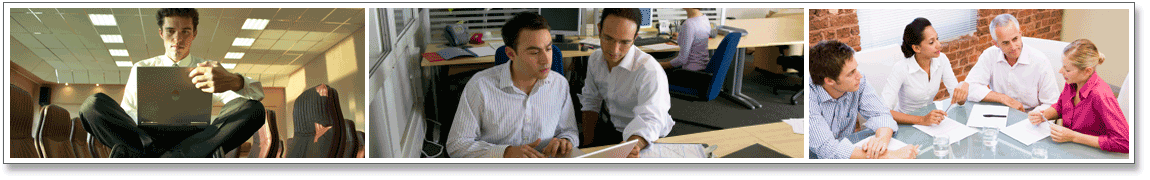 Series of 3 images. Image 1: Young creative businessman sitting on meeting table. Image 2: Two young men working around laptop 3: Group of young business professionals