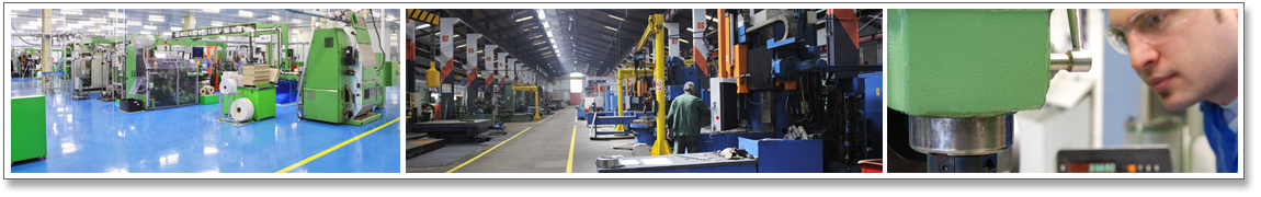 Series of 3 images. Image 1: 5S demonstrated in manufacturing plant. Image 2: Workers in manufacturing plant. Image 3: Manufacturing equipment