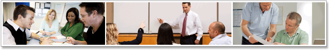 Series of 3 images. Image 1: Adults working together in a group. Image 2: Team Q&A Session. Image 3: Two businessmen meeting