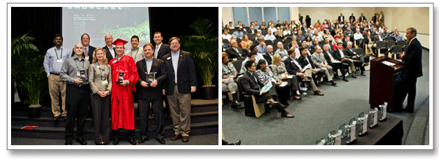Series of 2 images. Image 1: 2012 ATDC graduating class. Image 2: President Bud Peterson addresses attendees at 2012 ATDC showcase.
