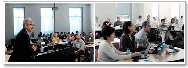 Series of 2 images. Image 1: Keith McGreggor, director of Georgia Tech's VentureLab presents to National Science Foundation I-Corps teams. Image 2: I-Corps team members listen to presentation.