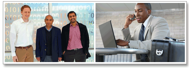 Series of 2 images. Image 1: (Left to Right) Assistant Professor Patrick Traynor, GTISC director Mustaque Ahamad and Pindrop CEO Vijay Balasubramaniyan. Image 2: Businessman on cell phone.