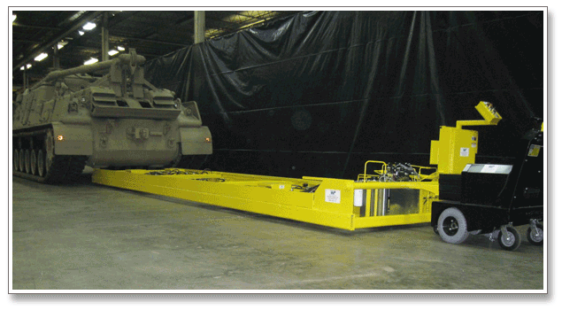 Hydraulic lifting system designed and manufactured by West Point Industries to support maintenance of a 70-ton M88 tank recovery vehicle for the U.S. Army.