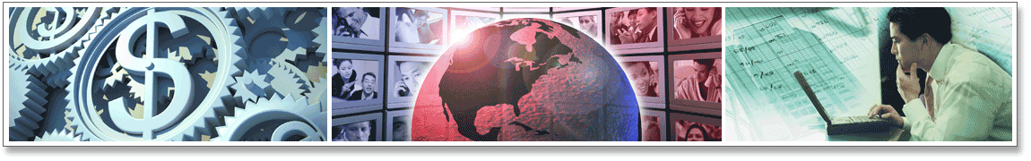 Series of 3 images: Image 1: Dollar sign within a gear. Image 2: Globe with images of people in the workforce. 3: Man at computer screen looking at financial data.