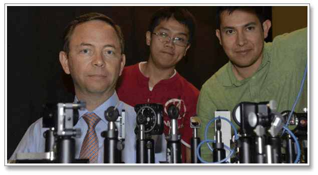 Left to Right: Professor Bernard Kippelen, James Hsu, and Canek Fuentes-Hernandez