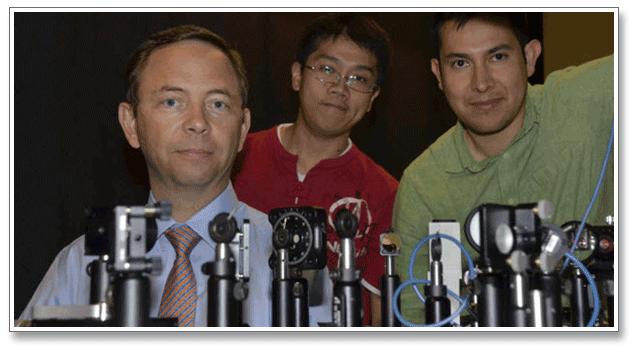 Left to Right: Professor Bernard Kippelen, James Hsu, and Canek Fuentes-Hernandez
