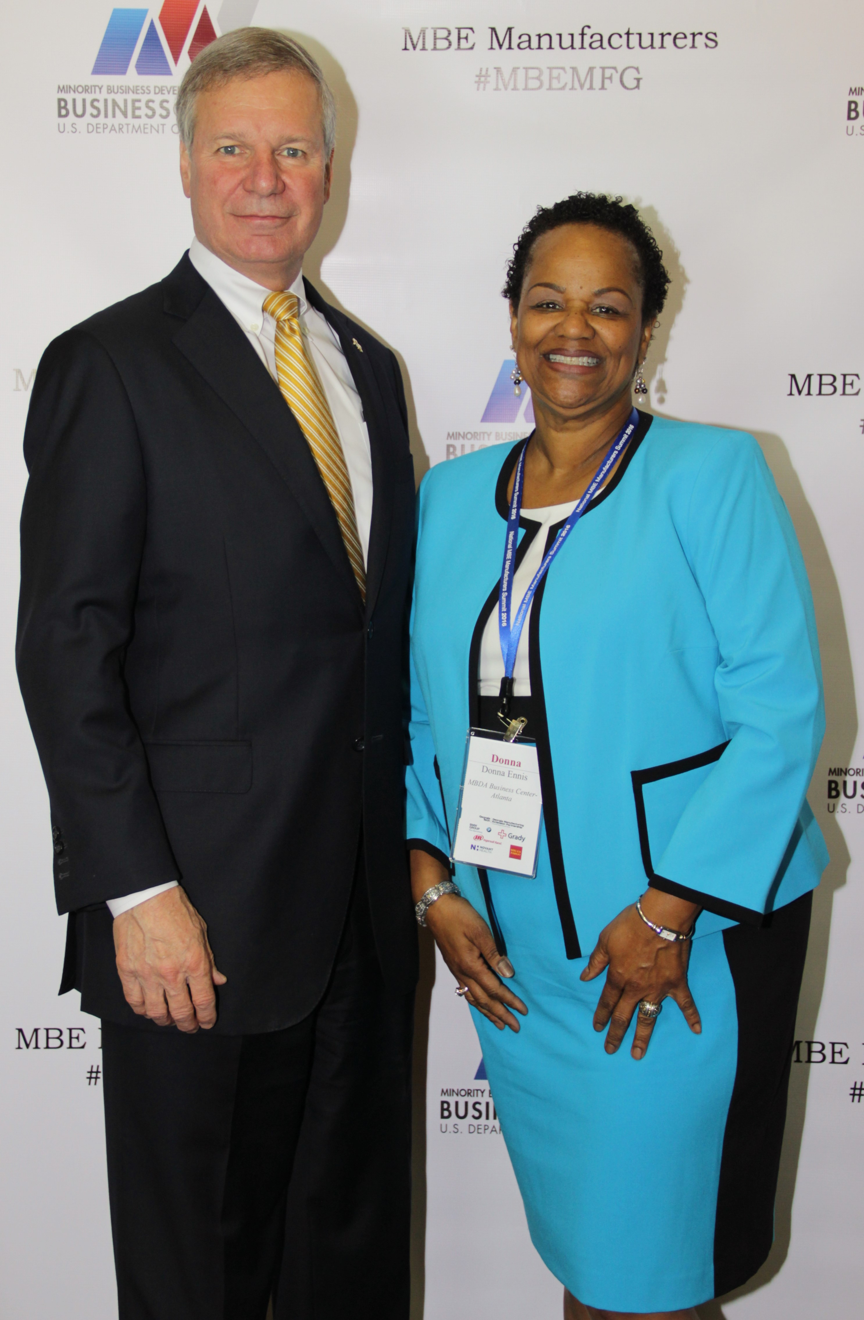 "Georgia Tech President G.P. ""Bud"" Peterson, left, and Donna Ennis, director of the Minority Business Development Agency Business Center-Atlanta."