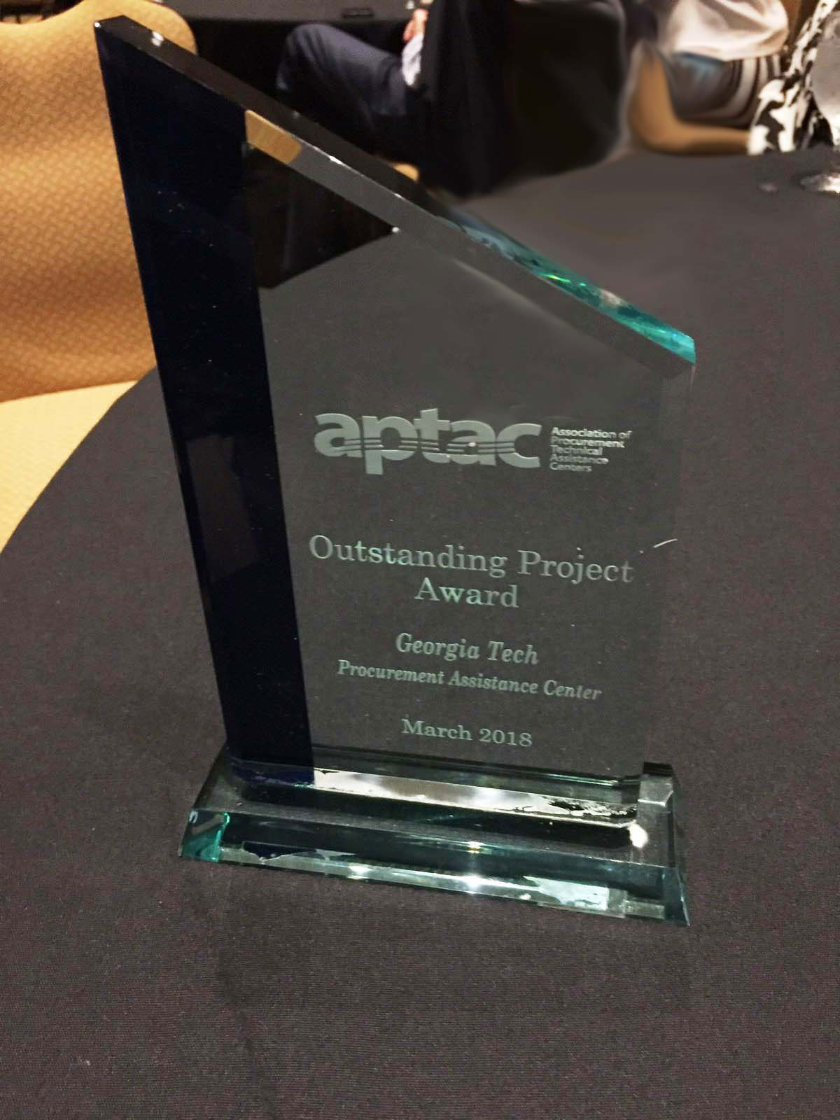 GTPAC received the Outstanding Project Award at APTAC's annual training conference on Mar. 7, 2018.
