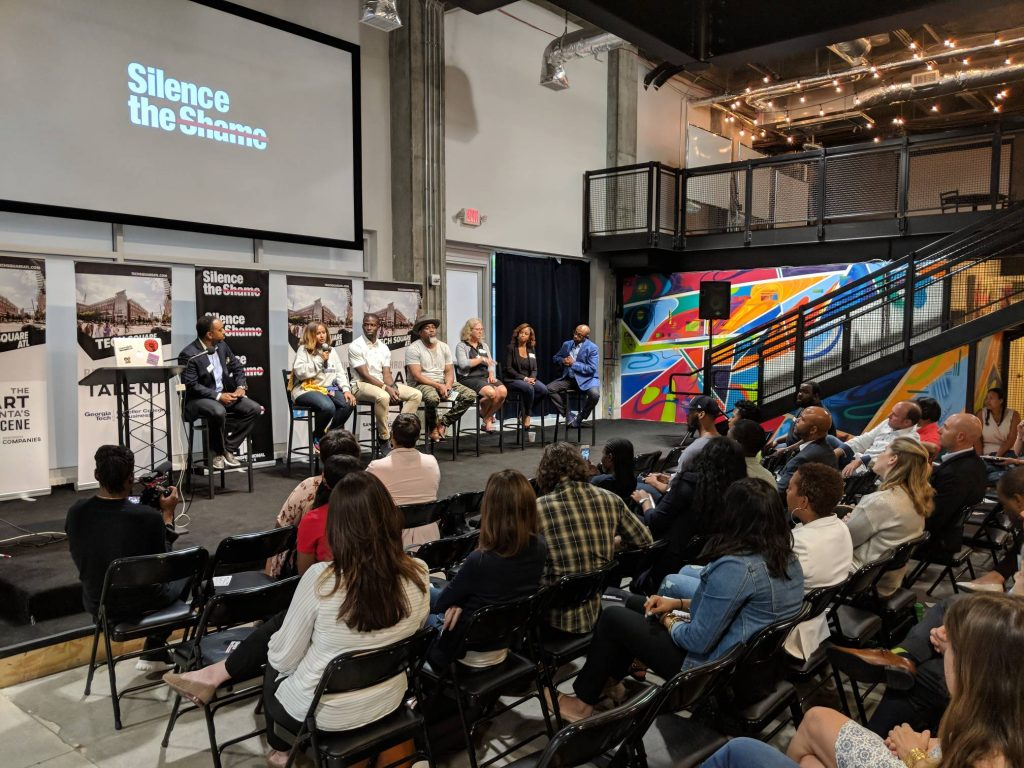 Panelists address issues related to mental health and how to move away from the stigma of discussing mental health, depression and warning signs of suicide at the ATDC and Cox Enterprises-sponsored Silence The Shame Panel Sept. 12, 2018. (Photo: Ben Andrews)