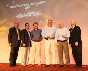 The Energy and Sustainability Services (ESS) Group won the Innovator of the Year Award at the national MEP annual conference in Orlando, Fla. Pictured from left to right are: Mike Simpson, NIST MEP; Eric Esoda, Awards Committee Chair; EI2's Chris Downing, Bob Hitch and Bill Meffert, and Roger Kilmer, MEP director.